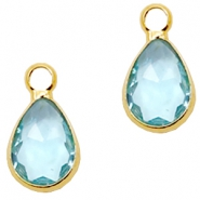 Crystal glass charms drop 12x6mm Light Turquoise Blue crystal-Gold