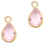 Crystal glass charms drop 12x6mm Light Rose crystal-Gold