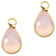 Crystal glass charms drop 12x6mm Light Rose Opal-Gold