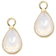 Crystal glass charms drop 12x6mm White Opal-Gold