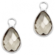 Crystal glass charms drop 12x6mm Greige crystal-Silver