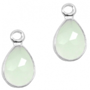 Crystal glass charms drop 12x6mm Light Turquoise Green Opal-Silver