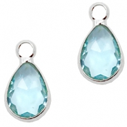 Crystal glass charms drop 12x6mm Light Turquoise Blue crystal-Silver