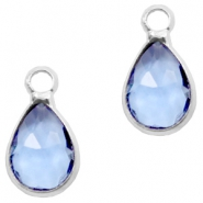 Crystal glass charms drop 12x6mm Sapphire Blue crystal-Silver
