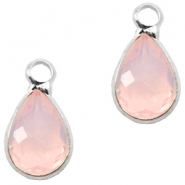 Crystal glass charms drop 12x6mm Light Rose Opal-Silver