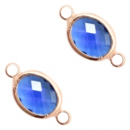 Crystal glass connectors oval 10x9mm Denim Blue crystal-Rose Gold