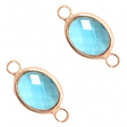 Crystal glass connectors oval 10x9mm Turquoise Blue crystal-Rose Gold