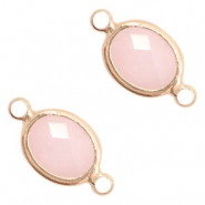 Crystal glass connectors oval 10x9mm Pink opal-Rose Gold