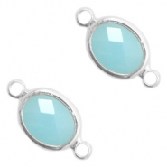 Crystal glass connectors oval 10x9mm Turquoise Blue opal-Silver