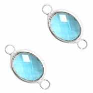 Crystal glass connectors oval 10x9mm Turquoise Blue crystal-Silver
