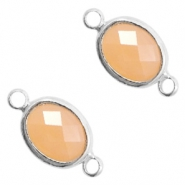 Crystal glass connectors oval 10x9mm Light Peach opal-Silver