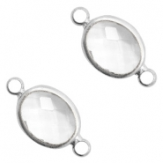 Crystal glass connectors oval 10x9mm Crystal-Silver