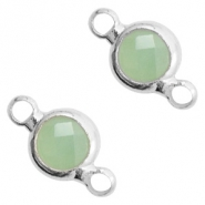 Crystal glass connectors round 6mm Crysolite Green opal-Silver