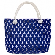 Fashion Beach bag anchor Dark Blue-White