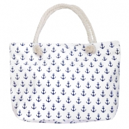 Fashion Beach bag anchor White-Dark Blue