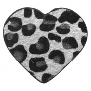 Hairy faux leather pendant heart with leopard print Silver Grey