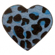 Hairy faux leather pendant heart with leopard print Dark Blue