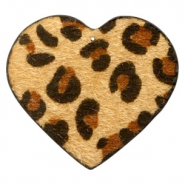 Hairy faux leather pendant heart with leopard print Camel Brown