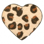 Hairy faux leather pendant heart with leopard print Beige Brown