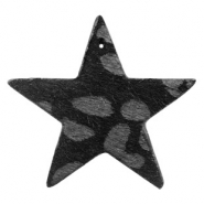 Hairy faux leather pendant star with leopard print Black Anthracite