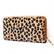 Trendy wallets hairy leopard print Camel Brown