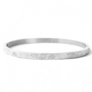Stainless steel bracelets tropical leaves Silver