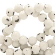 4 mm natural stone beads round jade with marble look White-Black