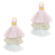 Tassels 3-layer 3.2cm Gold-Vintage Lila Green Blue