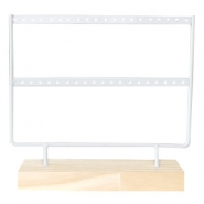 Jewellery display two rows for earrings with wooden standard White-Wood