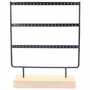 Jewellery display three rows for earrings with wooden standard Black-Wood