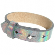 15mm leather Cuoio bracelets for 20mm cabochon Holographic Anthracite