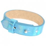 15mm leather Cuoio bracelets for 20mm cabochon Holographic Blue