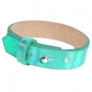 15mm leather Cuoio bracelets for 20mm cabochon Holographic Green