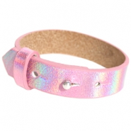 15mm leather Cuoio bracelets for 20mm cabochon Holographic Pink