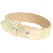 15mm leather Cuoio bracelets for 20mm cabochon Holographic Champagne