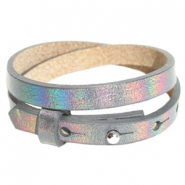 Cuoio bracelets leather 8mm double for 12mm cabochon Holographic Anthracite