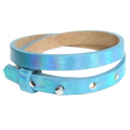 Cuoio bracelets leather 8mm double for 12mm cabochon Holographic Blue