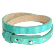 Cuoio bracelets leather 8mm double for 12mm cabochon Holographic Green