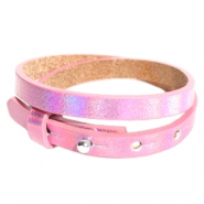 Cuoio bracelets leather 8mm double for 12mm cabochon Holographic Pink