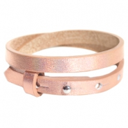 Cuoio bracelets leather 8mm double for 12mm cabochon Holographic Rosegold