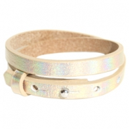 Cuoio bracelets leather 8mm double for 12mm cabochon Holographic Champagne