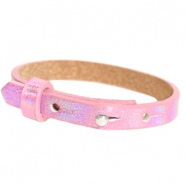 Cuoio bracelets leather 8mm for 12mm cabochon Holographic Pink