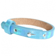 Leather Cuoio kids bracelet 8mm for 12mm cabochon Holographic Blue
