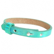 Leather Cuoio kids bracelet 8mm for 12mm cabochon Holographic Green