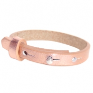 Leather Cuoio kids bracelet 8mm for 12mm cabochon Holographic Rosegold