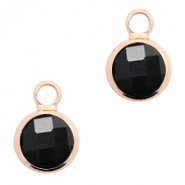 Crystal glass charms round 8mm Black Opaque-Rosegold