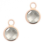 Crystal glass charms round 8mm Black Diamond Crystal-Rosegold