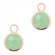 Crystal glass charms round 8mm Crysolite Green Opal-Rosegold