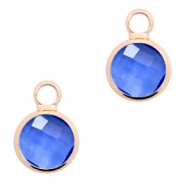 Crystal glass charms round 8mm Denim Blue Crystal-Rosegold