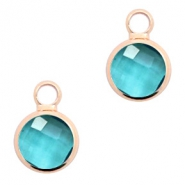 Crystal glass charms round 8mm Blue Zircon Crystal-Rosegold